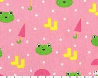 SALE Minny Muu Plus Frog Umbrella Boots on Pink Japanese Fabric - HALF YARD