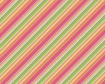 SALE Riley Blake Designs, Summer Song, Pink Summer Stripe Fabric - REMNANT Size 27 Inches by 43 Inches