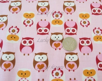 What A Hoot Owls Allover Pink Orange OOP Fabric- REMNANT Size 27 Inches by 44 Inches