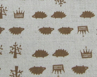 Hedgehogs and Crowns Japanese Fabric HALF Yard