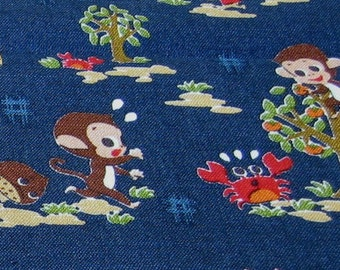 Monkey and Crab Navy OOP Japanese Fabric - Half Yard