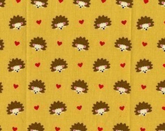 Michael Miller Hedgehog Heaven Gold Fabric - Half Yard