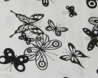 Alexander Henry Flutterby Butterfly Fabric OOP White - REMNANT Size 27 Inches by 44 Inches