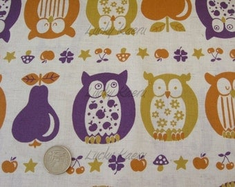 SALE Owls, Apples and Pears (Purple/Mustard) Japanese Fabric - Half Yard