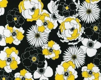 Robert Kaufman Night and Day 3 Assorted Floral Summer Fabric - REMNANT Size 27 Inches by 44 Inches