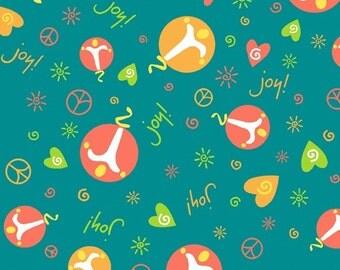 SALE/CLEARANCE Deb Eiseman, Peace Love Joy, Joy on Teal Fabric - By the Yard