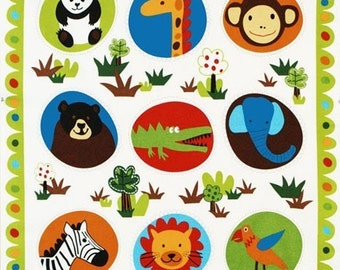 Lesley Grainger, Wild Friends, Jungle Animal Panel Earth Fabric - By the Panel