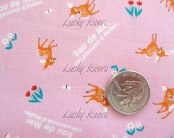 Eau De Mer Kawaii Japanese Tiny Deer on Pink Fabric - Half Yard