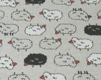 Black, White Natural Sheep Japanese OOP Cotton/Linen Fabric - Half Yard