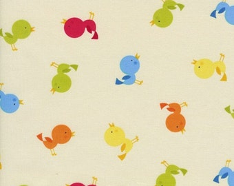 Tossed Birds Butter Fabric - Half Yard