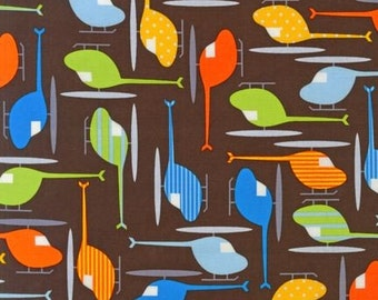 Ann Kelle, Ready, Set, Go, Helicopters in Chocolate Organic Cotton Fabric - REMNANT Size 22 Inches by 44 Inches
