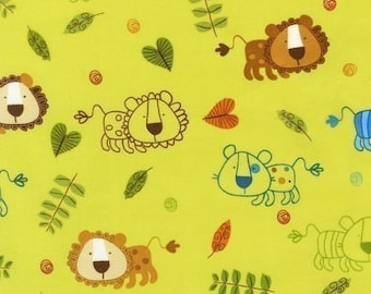 SALE Amy Schimler On A Whim 2 Lions Earth Green Fabric - Half Yard