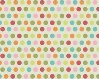 Riley Blake Designs, Just Dreamy, Orange Medium Dot on Cream Fabric - REMNANT Size 28 Inches by 42 Inches