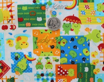 Cute Froggy Patchwork Japanese Fabric - REMNANT Size 27 Inches by 43 Inches