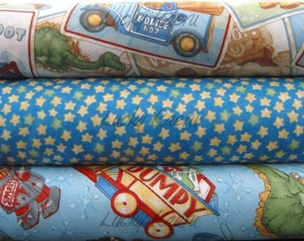 Wind It Up, Toys for Boys on Blue Half Yard Fabric Set
