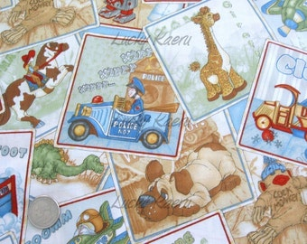 SALE/CLEARANCE Wind It Up, Toys for Boys, Toy Cards Fabric Blue - Half Yard