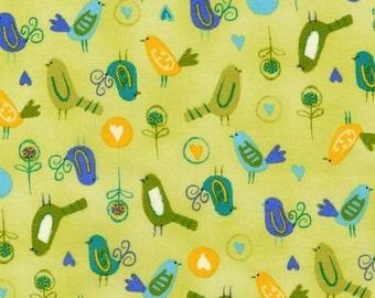 Amy Schimler, On Whim Little Bird Dawn Green OOP Fabric - Half Yard