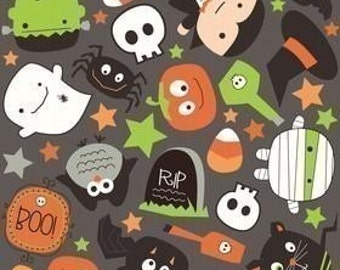 Riley Blake Designs, Boo To You, Black Boo Scatter OOP Fabric - REMNANT Size 25 Inches by 42 Inches