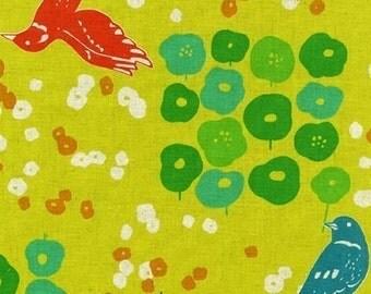 Echino Flower Bed Yellow/Green OOP Fabric - HALF Yard