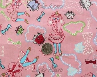 SALE/CLEARANCE Marie Jacobi, A Trip To Wonderland Pink Japanese Fabric - Half Yard