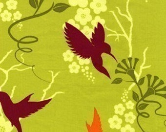 Patty Young, Flora and Fauna, Humming Birds Lime Fabric - REMNANT Size 24 Inches by 44 Inches  (Out of Print)