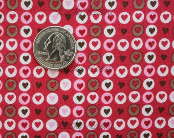 SALE What A Hoot, Hearts in Circles (Fuchsia/Brown-Gray) Fabric- Half Yard