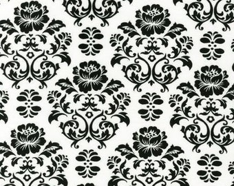 Robert Kaufman Cozy Cotton Flannel Black White Damask Fabric - REMNANT Size 25 Inches by 43 Inches
