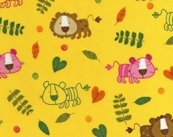 SALE/CLEARANCE Amy Schimler On A Whim 2 Lion Summer Yellow Fabric - By the Yard