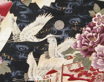 Han E Mai Cranes on Black Fabric - REMNANT Size 32 Inches by 44 Inches