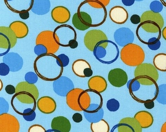 SALE Amy Schimler, Animal Party Too, Circles in Earth Blue Fabric - Half Yard
