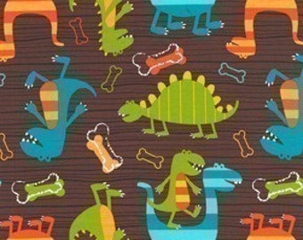 Michael Miller Dino Dudes Brown Fabric - Half Yard (Last One)