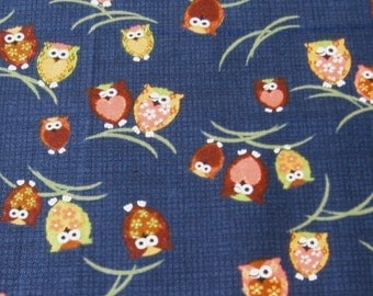 Japanese Owls on Navy Japanese Fabric - Half Yard