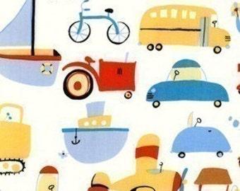 David Walker Oh Boy, Vehicles on White OOP Fabric - Half Yard