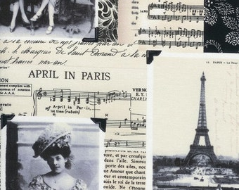April in Paris Collage on Ivory Fabric - REMNANT Size 32 Inches by 44 Inches