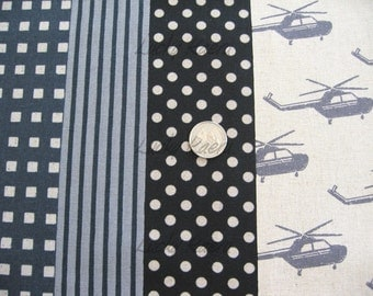 Echino Ni-co Helicopter Black OOP Fabric- REMNANT Size 27 Inches by 43 Inches