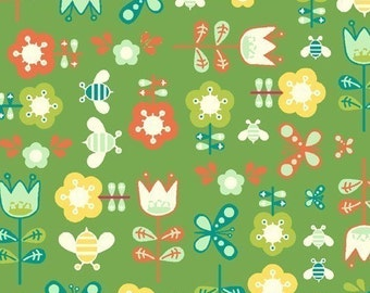 SALE/CLEARANCE Girl Friday Cosmo Cricket Flowers Green Fabric - By the Yard