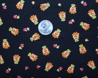 SALE/CLEARANCE Kawaii Tiny Owls and Crowns on Black Japanese Fabric - Half Yard