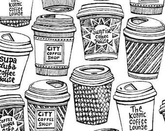Coffee Buzz, Coffee Cups Black on White Fabric - Half Yard