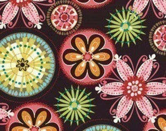 Michael Miller Carnival Bloom Brown Fabric - REMNANT Size 22 Inches by 44 Inches
