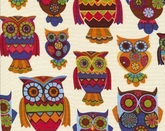 Owls Multi on Cream Fabric - Half Yard (Last One)