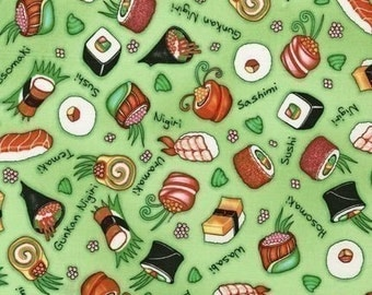 Robert Kaufman Chopsticks Please, Sushi on Lime OOP HTF Fabric - REMNANT 27 Inches by 44 Inches
