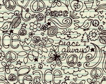 Michael Miller Always Peace Brown OOP Fabric - REMNANT Size 16 Inches by 44 Inches