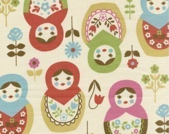 Large Blue/Green/Red/Pink Matryoshka on Natural Japanese Fabric - Half Yard