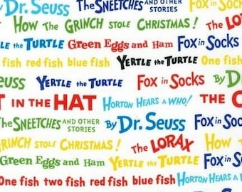 Dr. Seuss, Colorful Words Celebration Fabric - REMNANT Size 34 Inches by 44 Inches