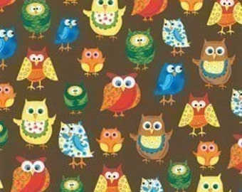 Woodland Friends II Owls on Brown OOP Fabric - Half Yard