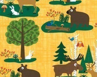 Woodland Friends II Forest Animals Yellow OOP Fabric - REMNANT Size 24 Inches by 44 inches