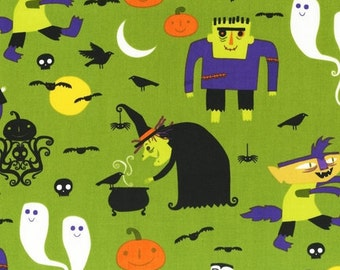 Jennifer Yanok, Eerie Alley 2, Halloween Monsters on Lime Fabric - Half Yard