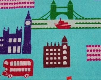 Echino Ni-co London City Scene Blue Fabric- Half Yard