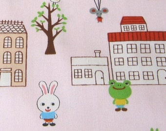 Cute Animal Town Pink Japanese Fabric - Half Yard