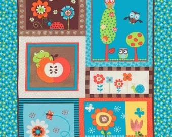 Alice Kennedy, Bright Owl, Owl Panel Multi Fabric - By the Panel